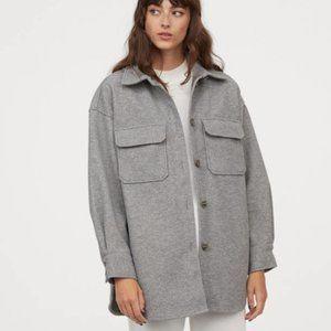 H&M Grey Jersey Shirt Jacket/Shacket